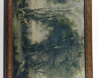 vintage A Morning. The Dance of the Nymphs. A print by Jean-Baptiste-Camille Corot in Carved Wood Frame. Mystical, whimsical, fairies.