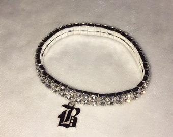 Custom Initial Old English Rhinestone Bracelet / Cuff - Silver ~ Gothic Jewelry Y2K 90s