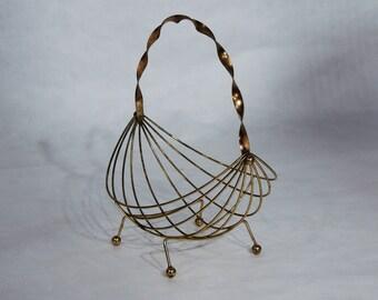 Vintage Brass Wire Basket MCM era Decor style of Ernest Sohn