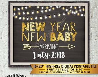 "New Years Pregnancy Announcement, New Year New Baby in 2019, Expecting in 2019, Chalkboard Style PRINTABLE 8x10/16x20"" Pregnancy Reveal Sign"