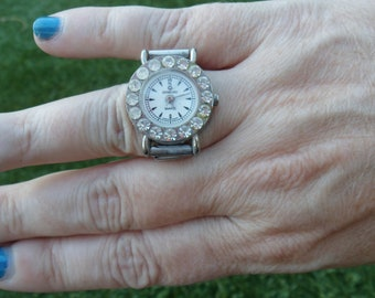 Ring Watch, Vintage, Watch, Silver, Costume Jewelry, Rings