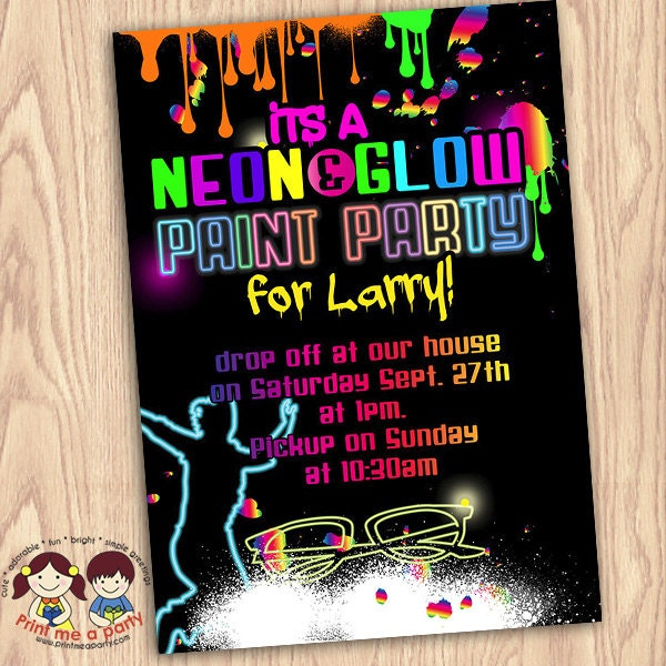 photo about Free Printable Glow Party Invitations called Neon birthday invites