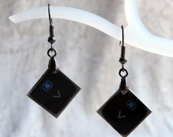 Earrings recycling computer keys