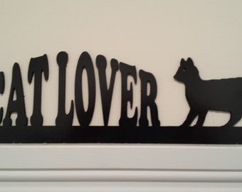 Cat Lover Silhouettes  Door Topper / Window Topper / Wall hanging Handcrafted and Painted. Perfect Gift for the Cat Lover!