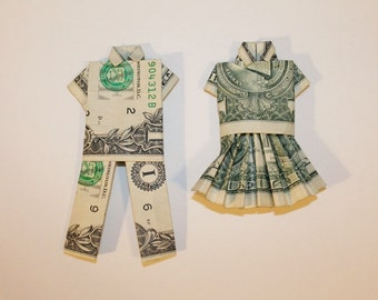 Money Origami Clothes Dollar Shirt and Pants or Skirt and Blouse - Choose one or both