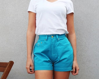 Vintage High Waist Shorts, Turquoise Shorts, 80s Style, Portuguese Brand, Cotton Shorts, Summer Shorts, 1980, Vintage Clothing
