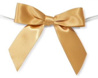 "Gold 3"" Pre-Tied Satin Bows with 5"" Twist Ties~ 7/8"" ribbon- Pack of 6"