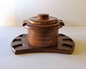 Vintage Aztec Solid Walnut Humidor and Six Pipe Stand