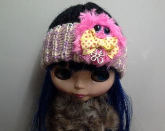 Purple and Black Knit Hat Beanie for Blythe Doll with Hot Pink Furry Monster with Yellow Bow