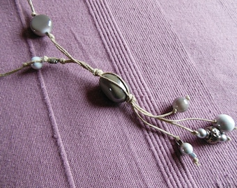 Gray string necklace