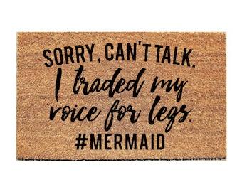Sorry Can't Talk Mermaid Doormat - Mermaid Doormat - Welcome Mat - Hello Doormat - Beach - Doormats - Doormat Humor - Unique Doormat - Rug