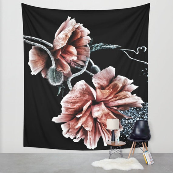 Passing with Colors Wall Tapestry, Poppy Large Wall Art, Flower Home Decor, Floral Tapestry, Dorm Room, Drama, Black Red, Office, Noir