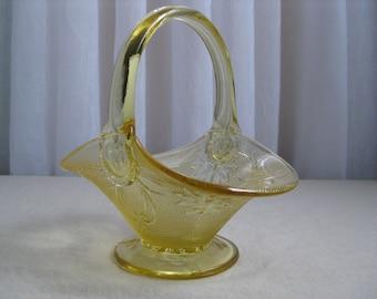 Vintage Yellow Mist Sandwich Glass Handled Basket Tiara Exclusives