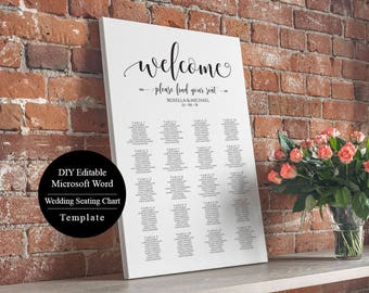 Editable Wedding Table Seating Chart Poster Sign, Wedding Seating Chart Template, Instant Download, Find Your Seat, MSW44