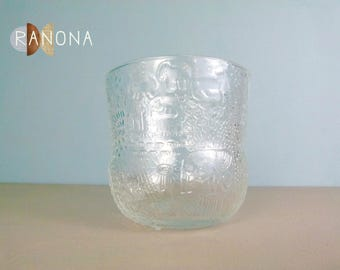 "Vintage Glass Bowl / Vase / Bucket - "" Fauna "" Pattern Designed by Oiva Toikka for Nuutajarvi of Finland"