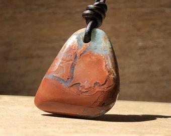 Larimar Pendant Necklace, Mens Natural Gemstone Necklace, Larimar Stone, Fathers Day Gift, Gift for Dad, Larimar Jewelry Men, Husband Gift,
