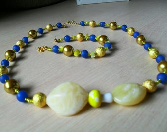 set (necklace and bracelet) colorful, chic, classy (blue and yellow)