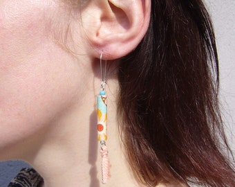 """Earrings """"Delphine"""" orange turquoise recycled paper"""