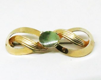 Jade Brooch - Vintage, Burt Cassell Signed, 12K Gold Filled Jade Pin