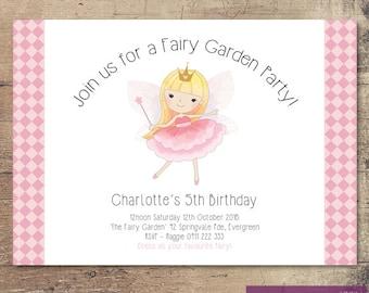 Printable Fairy Garden Birthday Party Invitation / Customisable Digital File / JPG or PDF / Pink, Gold, White