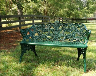 Garden Street GREEN Bench with Fern Floral Design Non Rust Architectural Seat