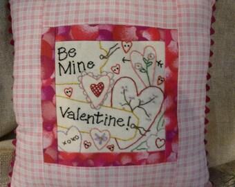 Be Mine Valentine embroidery Pattern PDF - primitive stitchery heart decor posies flowers