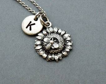Bee on sunflower necklace, bee, sunflower necklace, initial necklace, initial hand stamped, personalized, antique silver, monogram