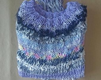 Ultraviolet-Grey Unique Beggar-Sweater #6 Statement Boho Bohemian Style