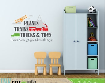Planes trains trucks and toys quote, There's nothing quite like little boys, Airplane Decal, Train Decal, Transportation, Nursery decals