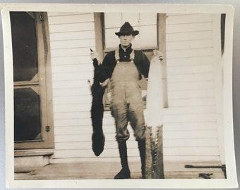 "Vintage Photo ""The Hunter"" Snapshot Antique Black & White Photograph Paper Found Ephemera Vernacular Interior Design Mood - 80"