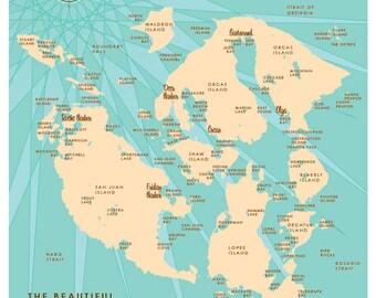 San Juan Islands, WA Map Print
