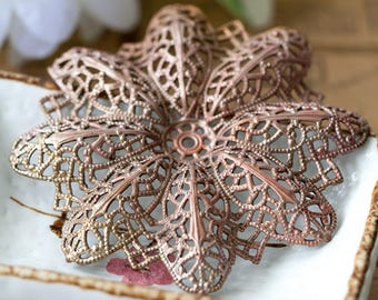 Large Vintage Filigree Aged Intricate Dimensional Lacy Filigree Necklace Centerpiece Pendant Stamping with Patina 69mm