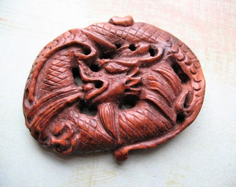 Carved Wood Dragon Plaque - 2 by 3 inches