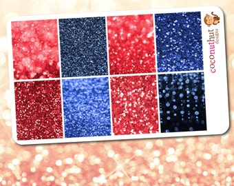 Red & Blue Glitter and Bokeh Full Box Planner Stickers (Erin Condren Life Planner Monthly Colors)