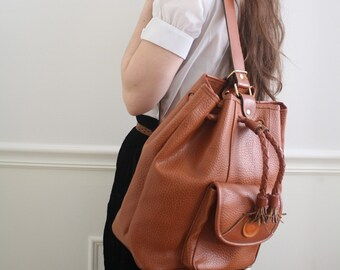 Vintage Leather Dooney and Bourke Chestnut Leather Tote