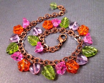 Flower Charm Bracelet, Bright Bouquet, Pink Purple Orange Green Glass Beaded Bracelet, Copper Chain Bracelet, FREE Shipping U.S.