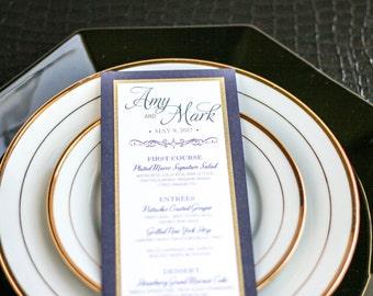 "Vintage Wedding Invitations, Navy and Gold, Reception Decor, Party Menu - ""Enchanting Vintage Flourish"" Flat Menu, 2 Layers - DEPOSIT"