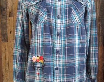 Hand Embroidered Vintage Flannel Plaid Shirt
