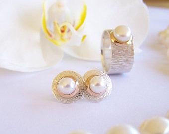 White pearl earrings sterling silver earrings with pearl gold minimalist earrings