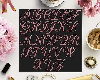 ROSE CURSIVE, Pink Foil Alphabet Clipart, Gold Letters Clip Art, Rose Pink Letters, Elegant Font, Hand Letters, BUY5FOR8