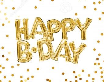 "30"" Happy Birthday Balloon, Gold Foil, Happy Birthday Balloon Banner, Happy Birthday Garland, Gold Happy Birthday Balloon, Phrase Balloon"