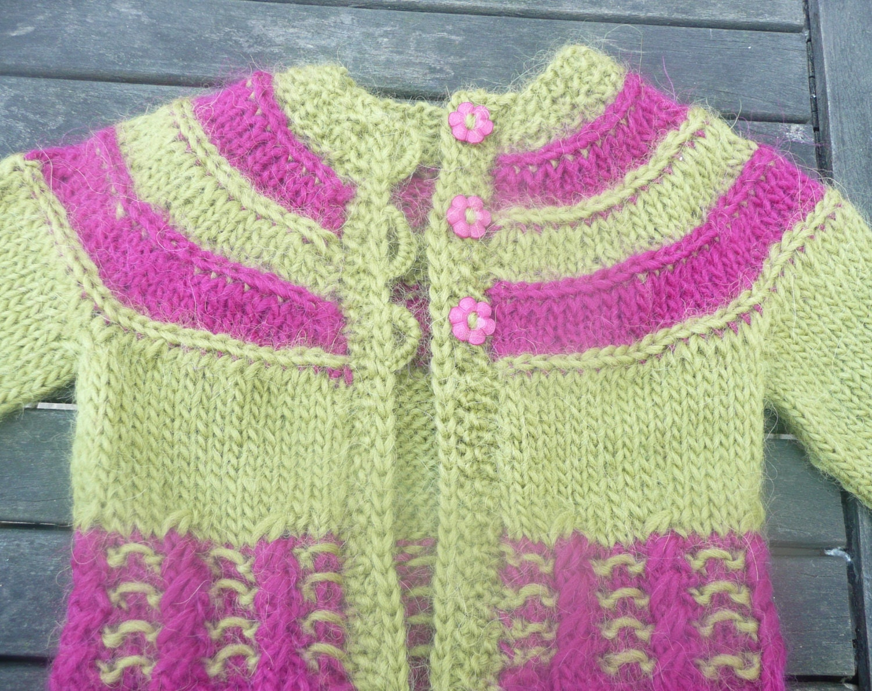 Knitting PATTERN Seamless Top Down Baby Girl CARDIGAN Jacket Sweater ...