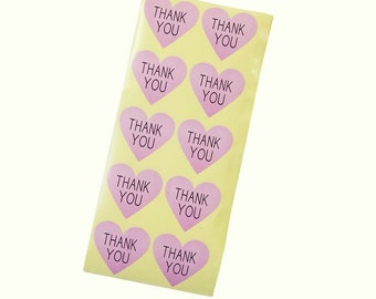 20 light pink heart shaped thank you stickers
