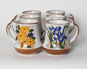 Vintage Floral Ceramic Coffee Mugs Set of 6 Stoneware Cups