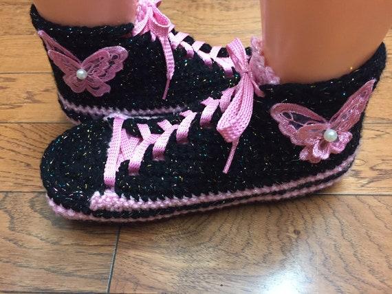 8 Crocheted shoes slippers 10 409 tennis black slippers crocheted butterfly sneaker crochet Womens shoes sneakers List slippers tennis pink BrZxqXBwf