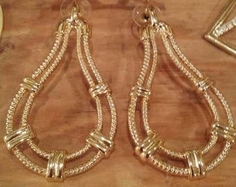 Gold Rope pattern Teardrop Hoop Earrings
