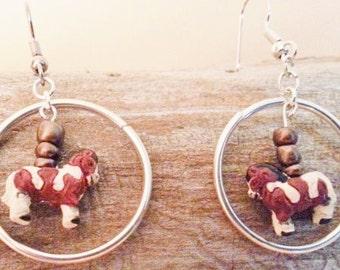 Miniature Horses In A Metal Corral Earrings