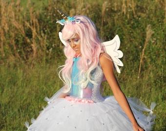 Unicorn costume, unicorn tutu, unicorn dress, unicorn party, unicorn headband, pastel unicorn tutu, unicorn cosplay, alicorn tutu, Pegasus
