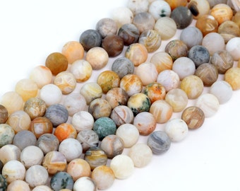 "4MM Bamboo Agate Natural Gemstone Round Shape Matte Effect Full Strand Loose Beads 15"" (100256-280)"