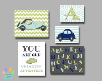 Vintage cars nursery wall print,monogram art for baby boys,alphabet-classic cars-quote,navy-gray-green-blue crib bedding,car canvas,182
